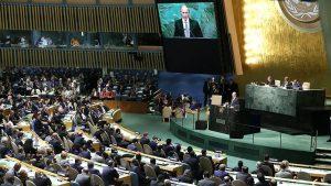 Photo du discours de Monsieur Poutine durant l'Assemblée générale des Nations Unies