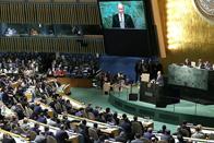 Foto toespraak van Mijnheer Poutine tijdens de Algemene vergadering van de Verenigde Naties / Photo du discours de Monsieur Poutine durant l'Assemblée générale des Nations Unies